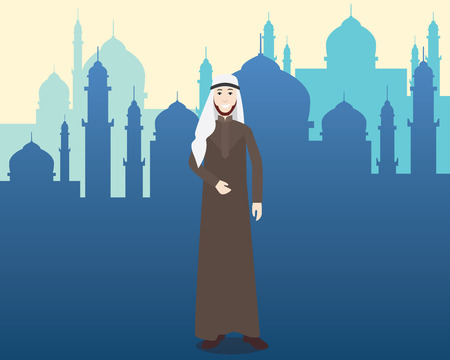 moslem: arabian moslem men with mosque as background vector illustration