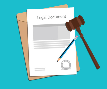 legal document paper illustration with gavel and pencil vector illustration