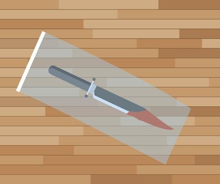 evidence bag: knife crime scene investigation evidence with plastic bag vector illustration