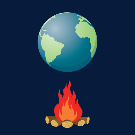 the end of the world: global warming illustration with globe and fire bonfire vector graphic illustration Illustration