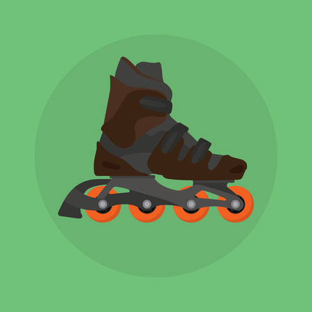 roller skates skater single isolated with green background flat vector illustration