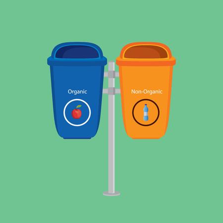 separate: trash can organic vs non-organic separate vector graphic illustration