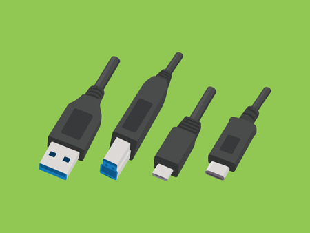 usb various: usb cable various plug type vector style illustration