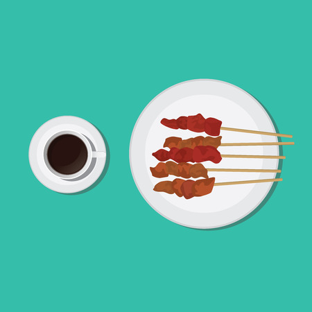 earthenware: sate indonesian indonesia malay malaysian traditional food vector graphic illustration Illustration