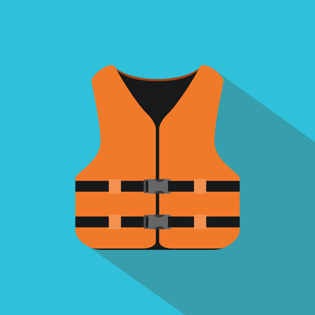 life jackets: life jacket with orange color and flat style vector illustration Illustration