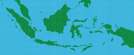 indonesian: indonesia indonesian map with green and blue background vector graphic illustration Illustration