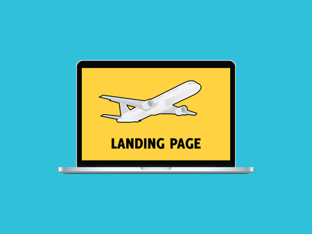 menu land: landing website page sign symbol with laptop and air plane vector graphic illustration