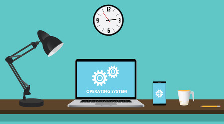 operating system: os operating system computer with gear and notebook on workdesk vector graphic illustration