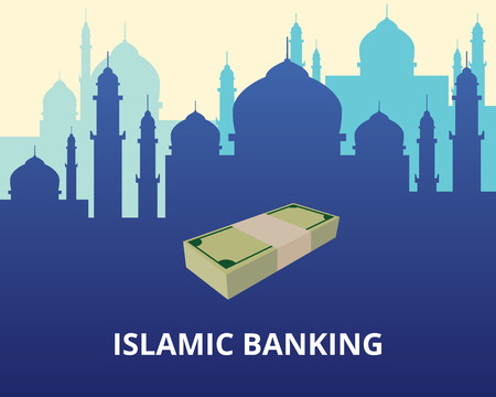 islamic banking illustration with mosque and money vector graphic illustration