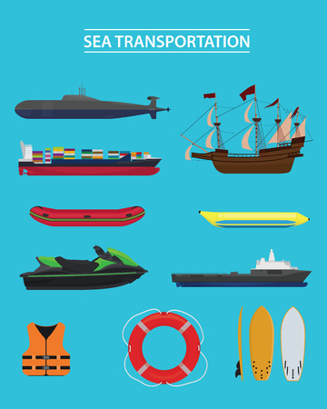 sea transportation collection vector graphic illustration