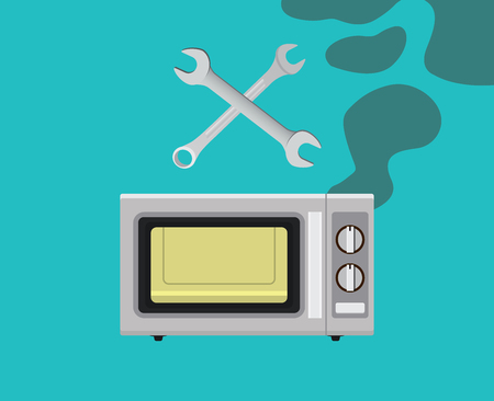 scorched: broken microwave with smoke and service repair graphic illustration