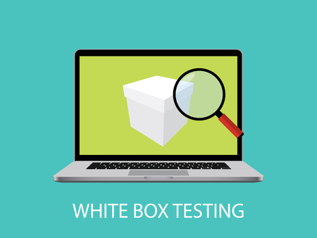 white box testing concept with laptop notebook and magnifying glass graphic illustration