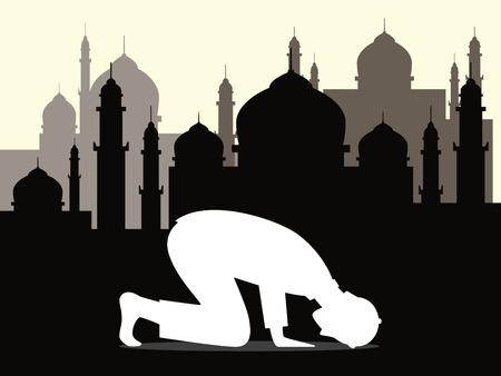 muslim pray: muslim moslem pray shalat salah sujud arabic  graphic illustration Illustration