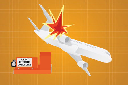 plane crash falling down from sky with flight recorder as the clue Illustration