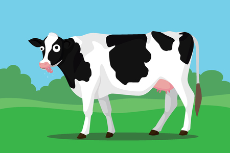 cow teeth: mad cow illustration on bush with funny expression and eyes