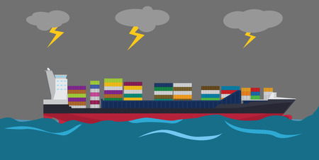 bad weather: container ship on middle of sea and bad weather with lightning in clouds
