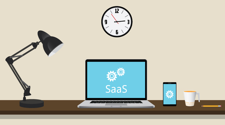 saas: saas software as a service concept with laptop on the desk and gear vector graphic illustration