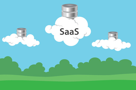saas: saas software as a service with cloud and database symbol icon vector graphic illustration