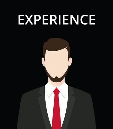 professionalism: businessman standing representing an experience and professionalism in work vector graphic illustration