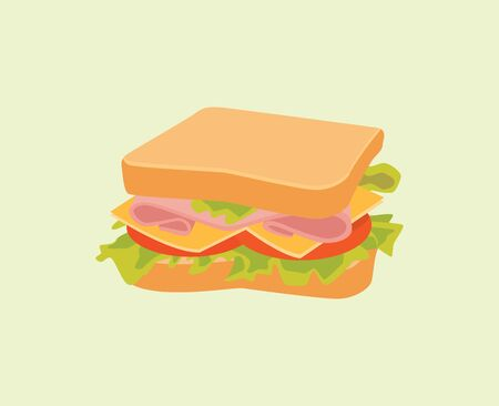 cheese bread: sandwich isolated with bread meat cheese tomato vegetable vector graphic illustration