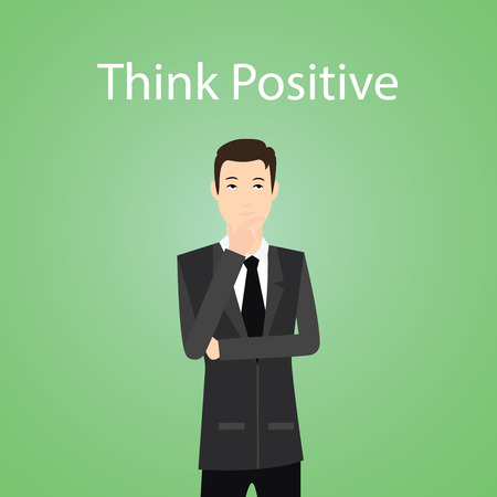 the thinker: businessman think positive sign with expression to positive thinker vector graphic illustration