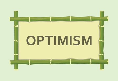 optimism: optimism single isolated text with bamboo board sign vector graphic illustration