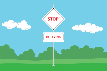 violence in the workplace: stop bullying with road sign text and green backround with sky vector graphic illustration Illustration