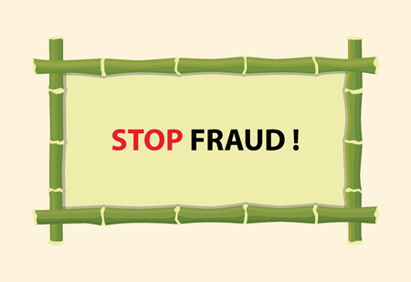 stop piracy: stop fraud text with red text and bamboo board vector graphic illustration