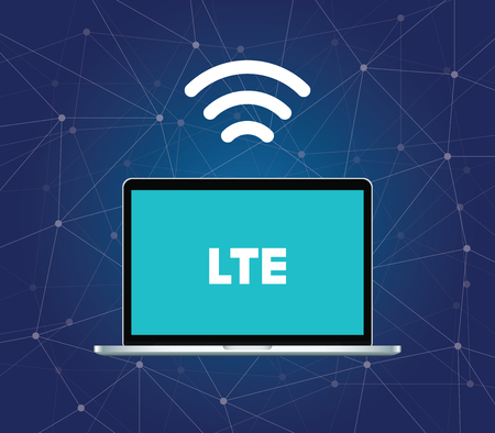 lte: lte 4g signal internet connection with wifi and laptop with dot connection vector graphic illustration Illustration