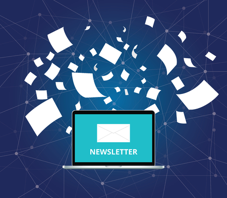 paper flying: newsletter with letter and laptop notebook and paper flying as background vector graphic illustration