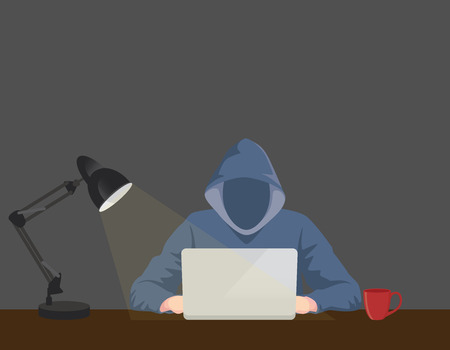 stalker: programmer hacker working on front of his laptop writing code in the middle of night vector graphic illustration