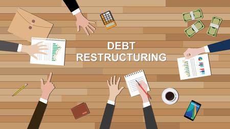 refinancing: debt restructuring team work together on the desk with people hand graph money calculator vector graphic illustration