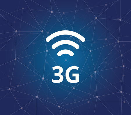 3g: 3g sign symbol with dot connected background graphic illustration