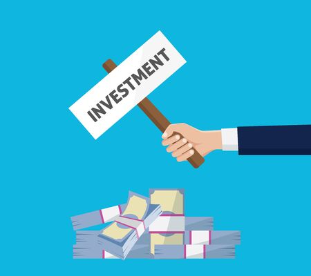 man holding sign: investment invest man holding sign board on top of money graphic illustration Illustration