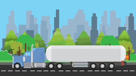 haul: truck gas or liquid trailer on the way with city and trees background  graphic illustration