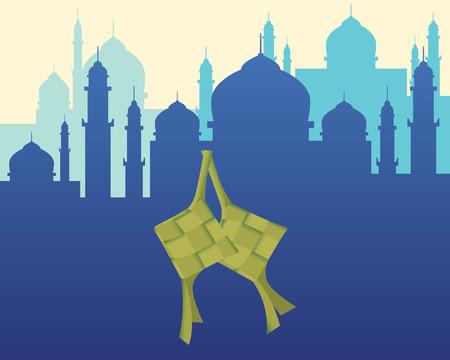 ramadhan: ketupat food islam ramadhan with mosque background graphic illustration