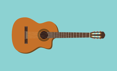 frets: guitar single isolated object with flat blue background graphic illustration Illustration