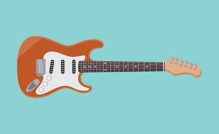 rosewood: electric guitar single isolated object with flat blue background graphic illustration