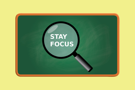 green board: stay focus with magnifying glass and green board chalk effect graphic illustration Illustration