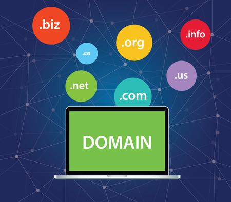 Domain-Symbol Symbol oben auf dem Laptop-Computer grafische Illustration Vektorgrafik