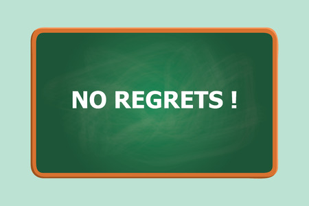 shame: no regrets text with green board chalk effect graphic illustration Illustration