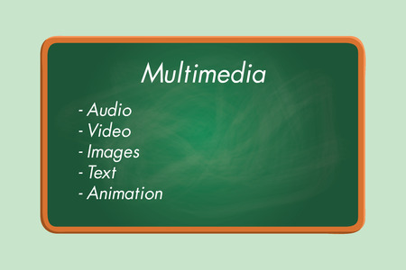 audio video: multimedia component list audio video images text animation green board chalk effect graphic illustration Illustration