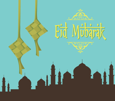 eid mubarak ramadhan moslem islam day vector graphic illustration