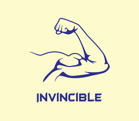 invincible: bicep strong with invincible text flat vector graphic illustration Illustration