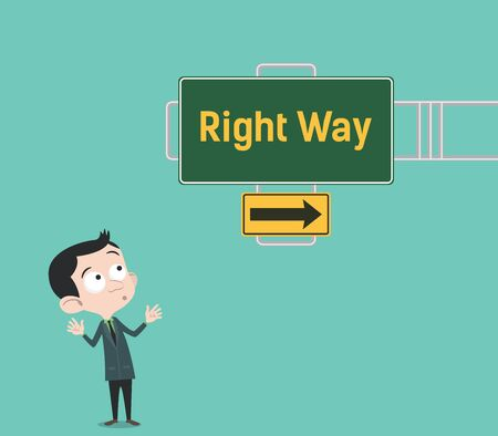 guide board: right way arrow guide with sign board with green background and businessman people watch that vector graphic illustration