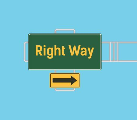 guide board: right way arrow guide with sign board with green background vector graphic illustration