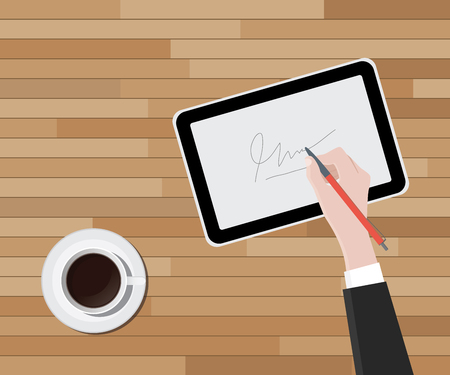 digital signature hand handwrite a sign on top of tablet vector graphic illustration