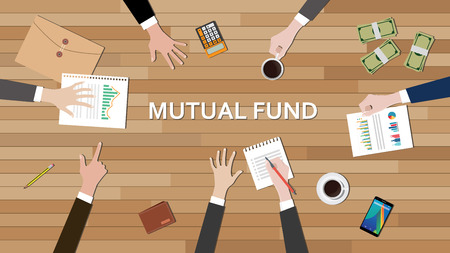 mutual fund: mutual fund economy business team work together on top of the table vector graphic illustration