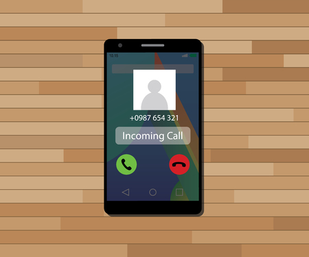 incoming: incoming call single isolated object with single phone vector graphic illustration