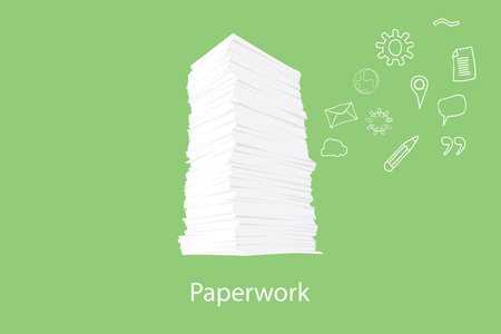 paper work: paper work document with icon flying on the right vector graphic illustration Illustration